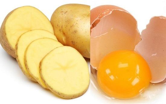 mặt nạ khoai tây và lòng đỏ trứng gà