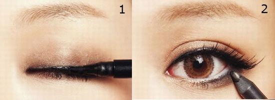 Kẻ viền mí mắt là bước đầu tiên bạn cần thực hiện để tạo hình cho đôi mắt 2 bên không đều nhau