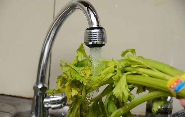 Rửa sạch cần tây dưới vòi nước trước khi ép